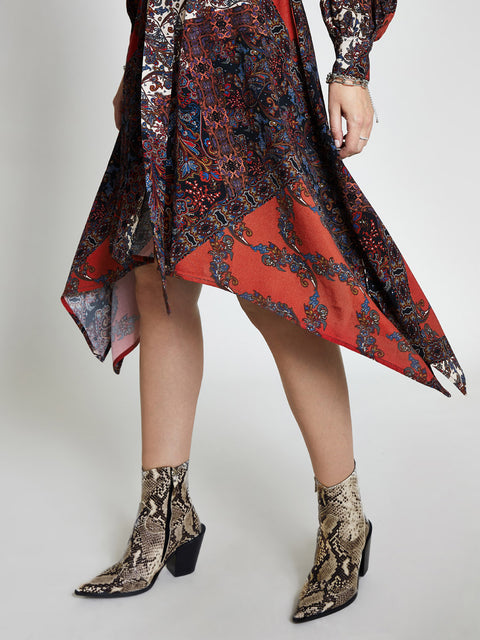 Red Paisley Print Shirt Dress