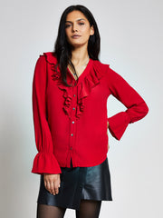 Red Ruffle Front Blouse