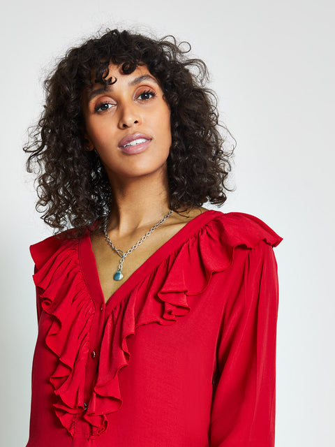Red Ruffle Front Shift Dress