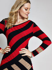 Red Stripe Asymmetric Jumper Dress