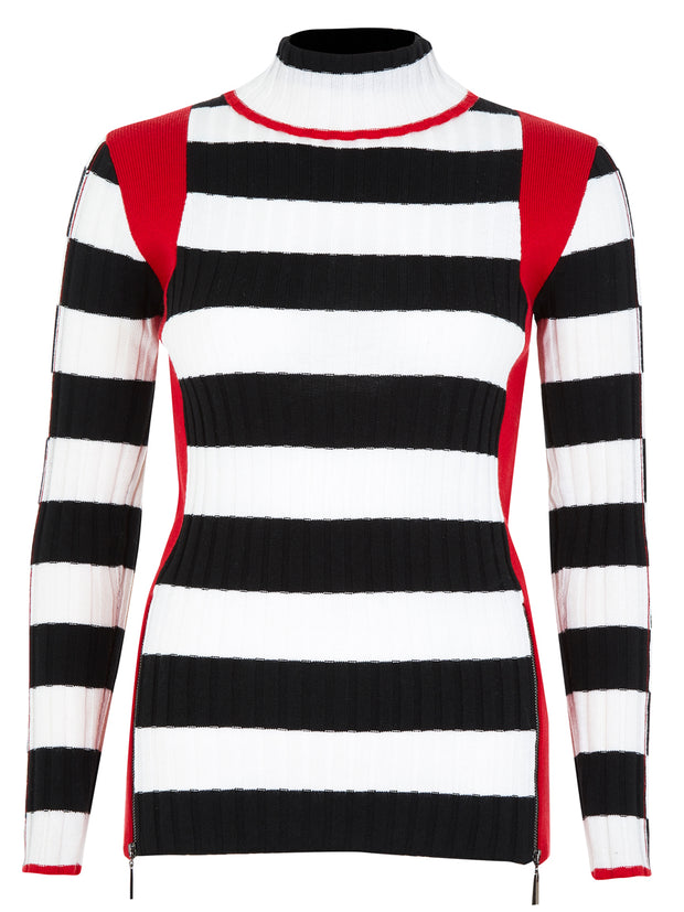 Black White Stripe Roll Neck Jumper