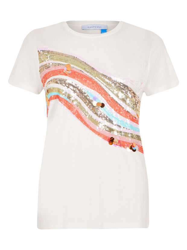 White Rainbow Sequin T-Shirt