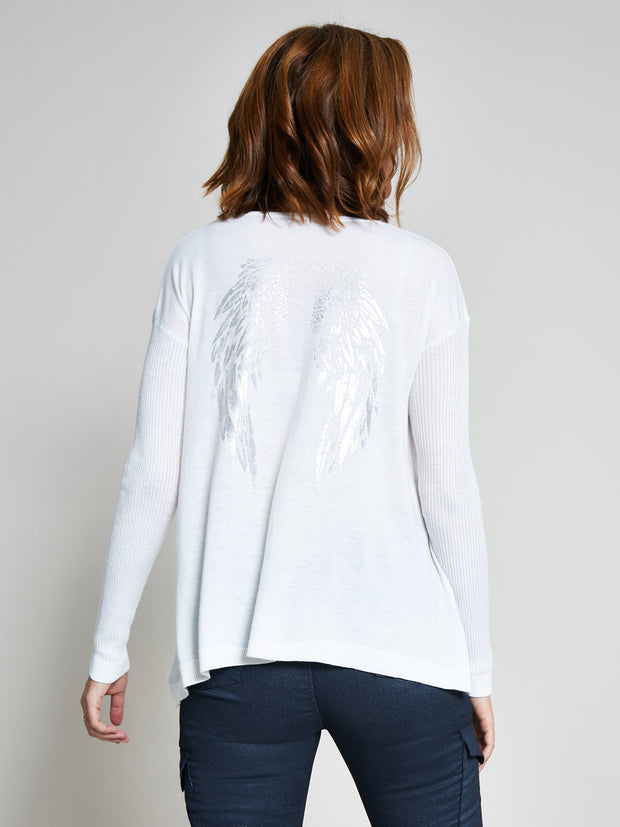 Cream Angel Wing Print Jumper