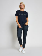 Navy 'Why Not' Embellished T-Shirt