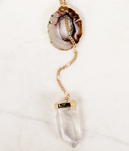 B&B Assana Geode & Quartz Lariat