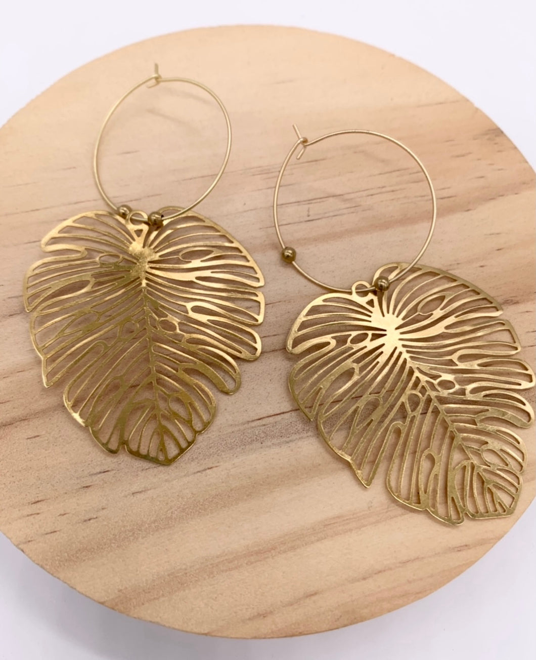 B&B Brass Monstera Leaf Earrings