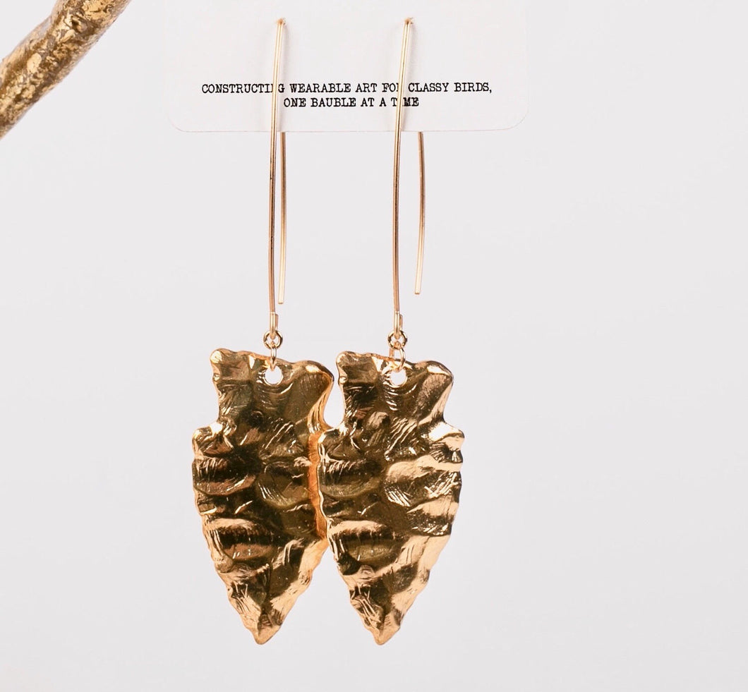 Amos Arrowhead Earrings-Gold