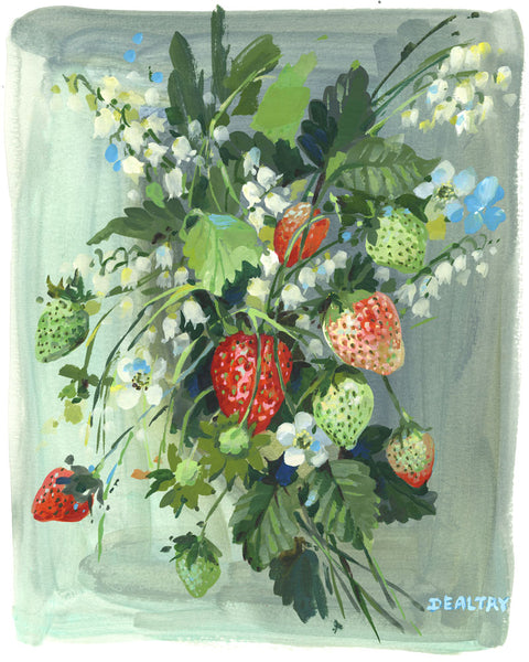 Strawberries and Lily - Giclee Print
