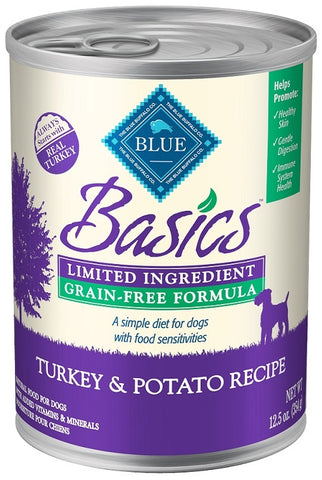 Blue Buffalo Basics Grain Free LID Turkey and Potato Recipe Adult Canned Dog Food