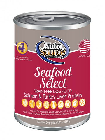 NutriSource Grain Free Seafood Select Formula Canned Dog Food