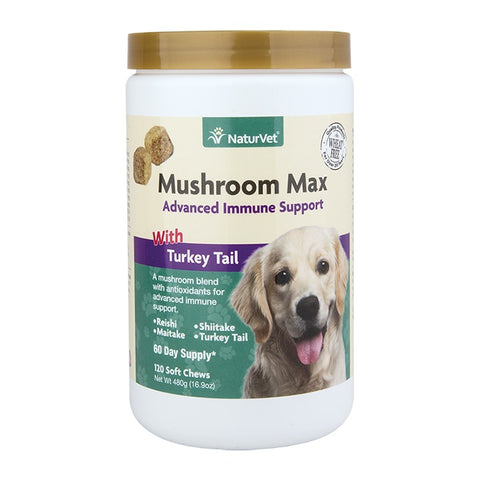 NaturVet Mushroom Max Advanced Immune Support Soft Chews for Dogs and Cats
