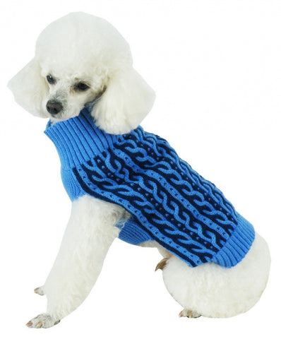 Pet Life Harmonious Dual Color Aqua Blue & Dark Blue Weaved Heavy Cable Knitted Dog Sweater