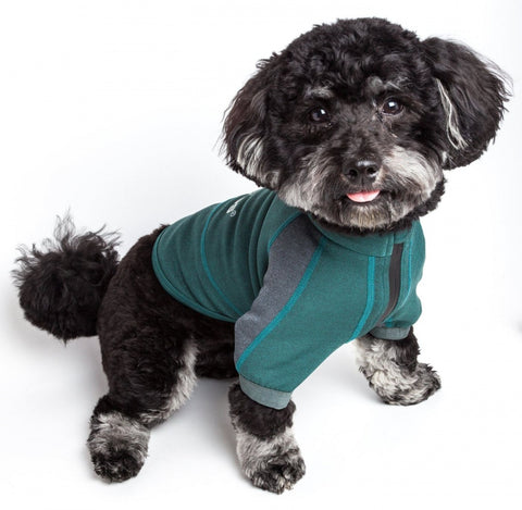 Pet Life Dog Helios Eboneflow Forest Green Flexible Performance Breathable Yoga Dog T-Shirt
