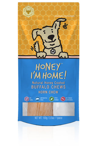 Honey I'm Home Natural Honey Coated Horn Core Buffalo Dog Chews