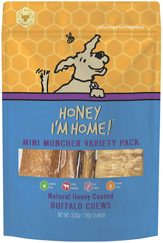 Honey I'm Home Natural Honey Coated Mini Muncher Variety Pack Buffalo Dog Chews