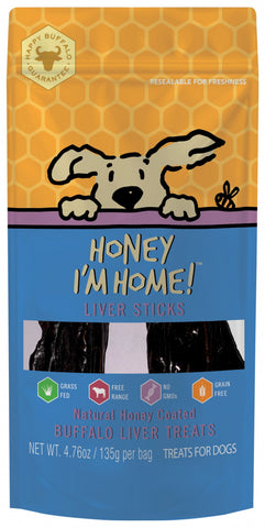 Honey I'm Home Natural Honey Coated Liver Sticks Buffalo Dog Chews