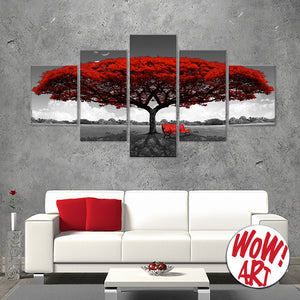 Big Red Tree 5-Panel Canvas Wall Art from WOW! Art