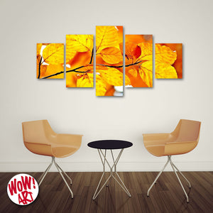 Autumn Leaves 5-Panel Canvas Wall Art
