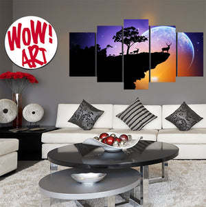 Deer Silhouettes Against The Moon 5-Panel Wall Art