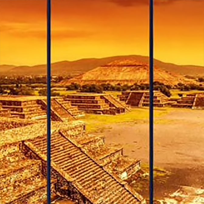 Mayan Pyramid Landscape 5-Panel Canvas Wall Art