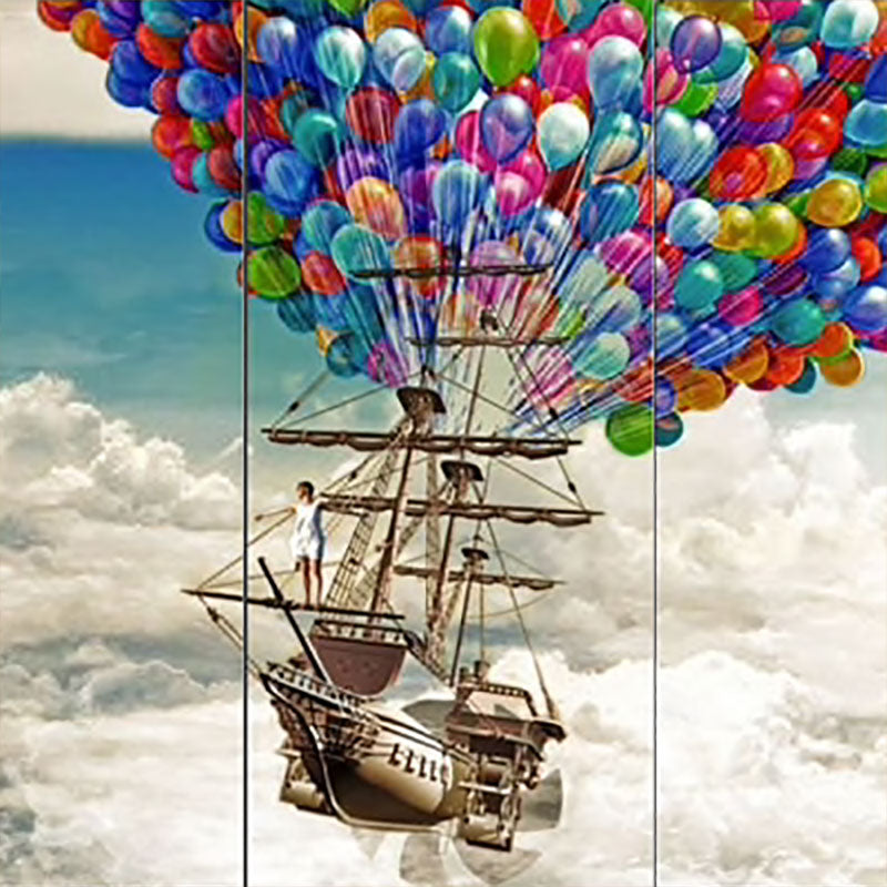 Balloon Airship Fantasy 5-Panel Canvas Wall Art