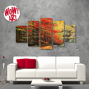 Red Maple Tree In The Autumn Woods 5-Panel Canvas Wall Art