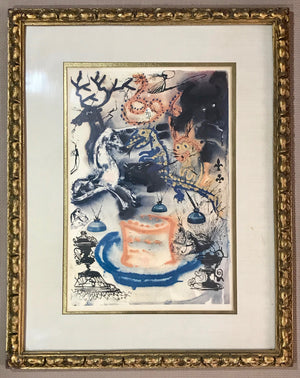 SALVADOR DALI ALICE IN WONDERLAND Who Stole The Tarts – Signed, Framed Lithograph