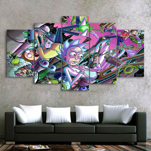 Rick and Morty Craziness - Abstract 5-Panel Canvas Wall Art.