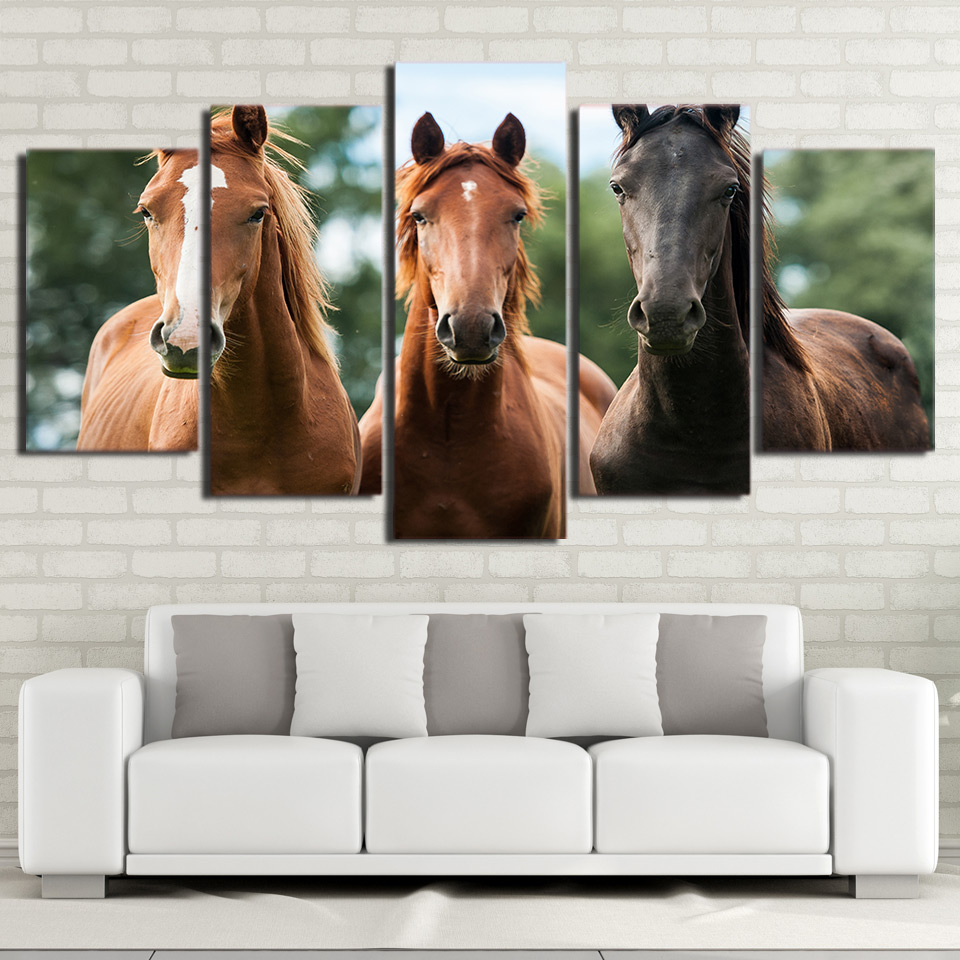Brown Racehorses 5-Panel Canvas Wall Art