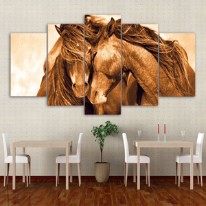 Two Red Horses – Together – 5-Panel Canvas Wall Art