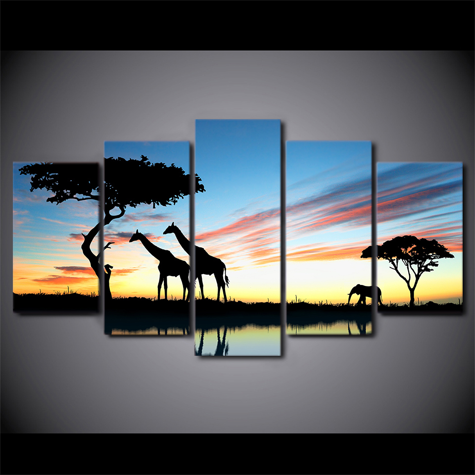 Idyllic Africa Scene – 5-Panel Canvas Wall Art