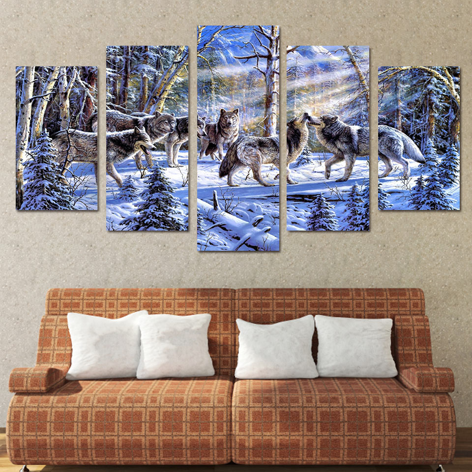 Wolves Gather In The Snow 5-Panel Canvas Wall Art