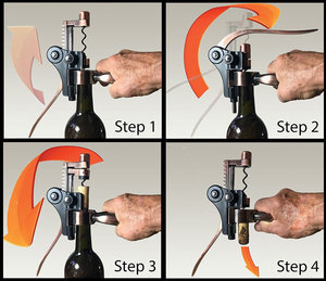 Trader Dave's Wine Opener – Opens as easy as 1 - 2 - 3 - 4!