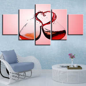 Red Wine Pouring a Heart Into Clinking Glasses 5-Panel Canvas Wall Art