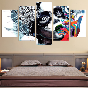 Abstract Girl's Face Painting 5-Panel Canvas Art