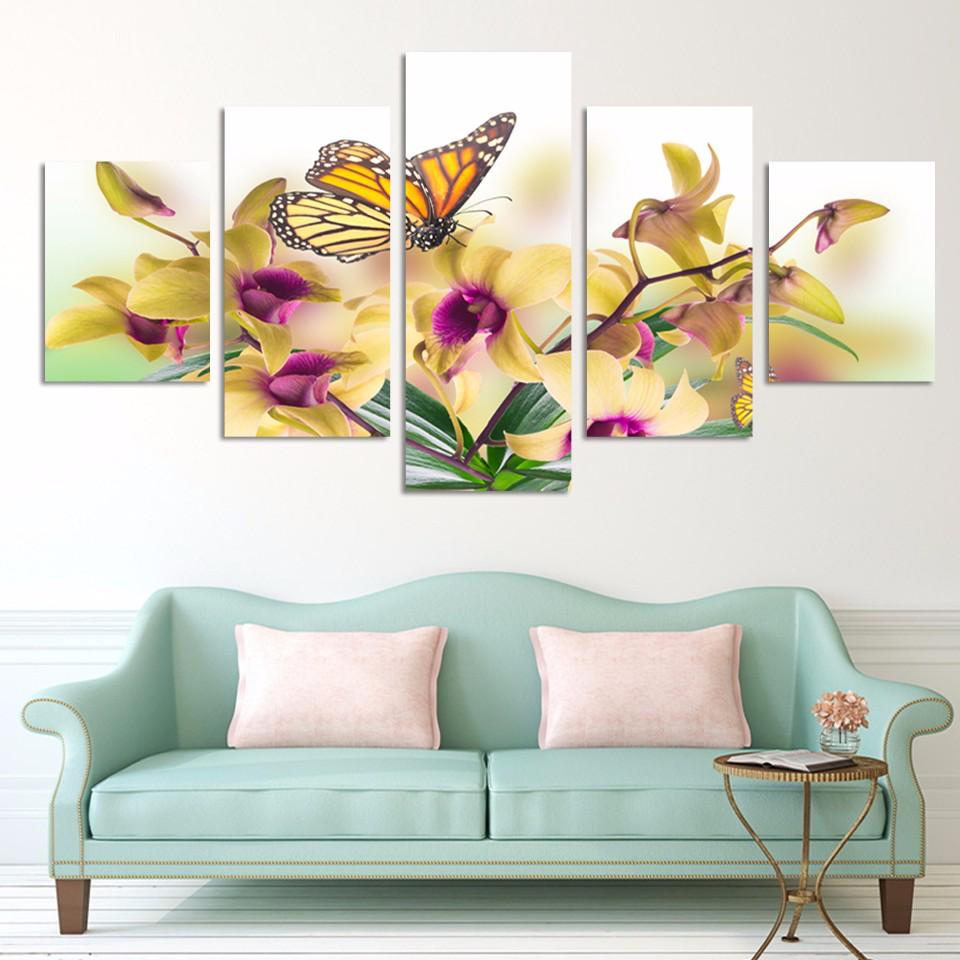 Yellow Orchids and Butterfly 5-Panel Canvas Wall Art