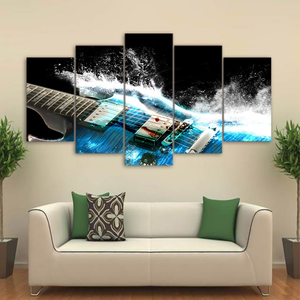 Abstract Guitar Splashdown 5-Panel Canvas Wall Art