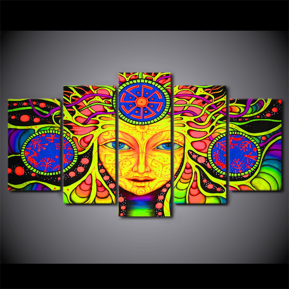 Psychedelic Mandala Abstract Painting 5-Panel Canvas Wall Art