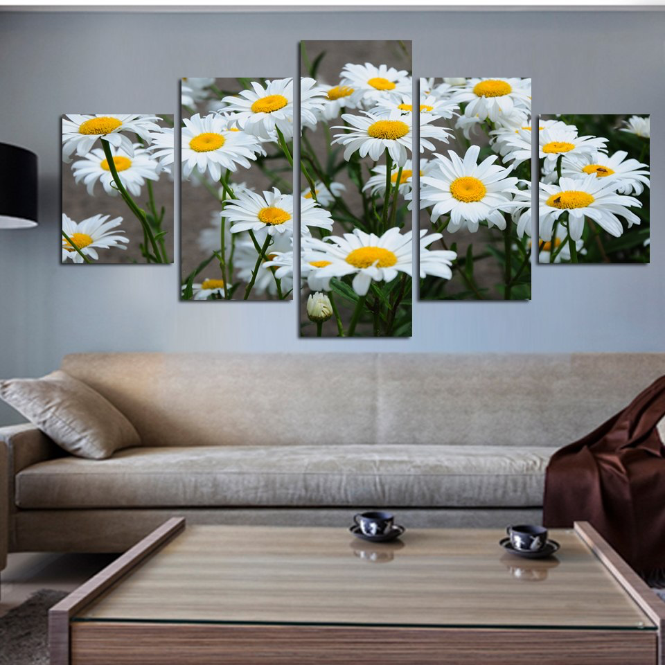 Daisy Flowers 5-Panel Canvas Wall Art