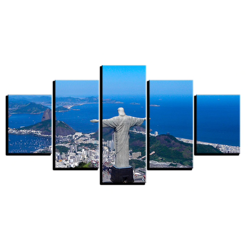 Christ The Redeemer Watching over Rio de Janeiro 5-Panel Canvas Wall Art