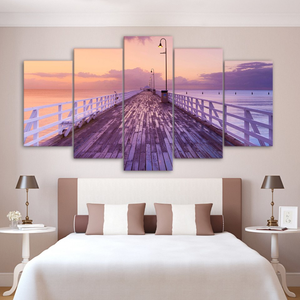 Ocean Pier and Rosy Morning Sky 5-Panel Canvas Wall Art
