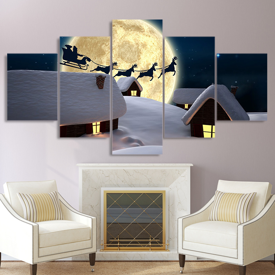 Seasonal Christmas Holiday Selections of 5-Panel Canvas Wall Art