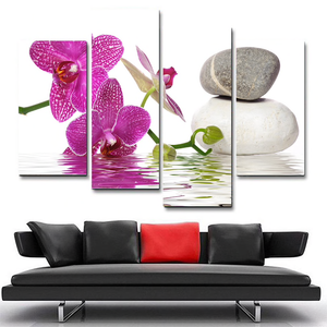 Zen Orchids & Stones 4-Panel Canvas Wall Art