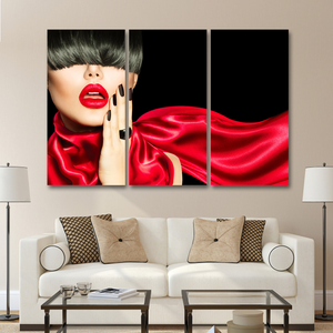 Sexy Woman Lips & Hair 3-Panel Canvas Art