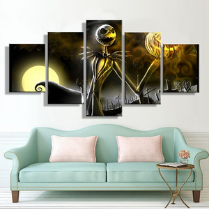 Hallowmas by Jack Skellington 5-Panel Canvas Wall Art