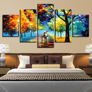 Lovers Walking In An Autumn Night Rain 5-Panel Canvas Wall Art