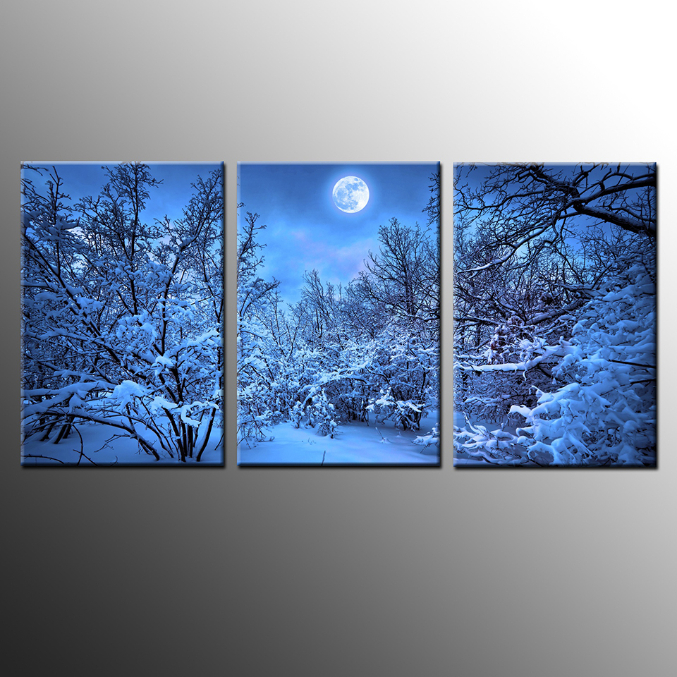 Winter Forest Snow Trees in The Moonlight 3-Panel Canvas Wall Art