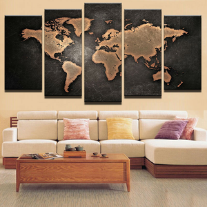 Decorative Map Of The World 5-Panel Canvas Art
