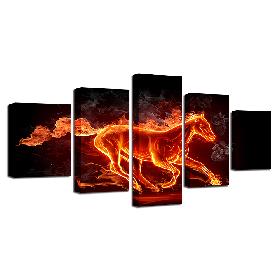 Fire Horse Abstract 5-Panel Canvas Wall Art