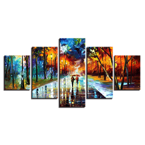 Walking In The Rain – Colorful Evening In The Park 5-Panel Canvas Wall Art
